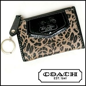Coach Leopard Animal Print Signature Keychain